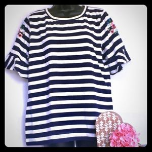 August Silk Navy Blue and White Striped XL Top.